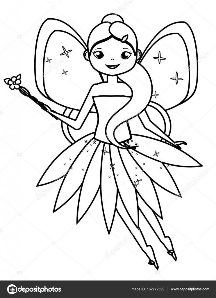 Página para colorear con lindo personaje de hadas voladoras. Dibujo ...