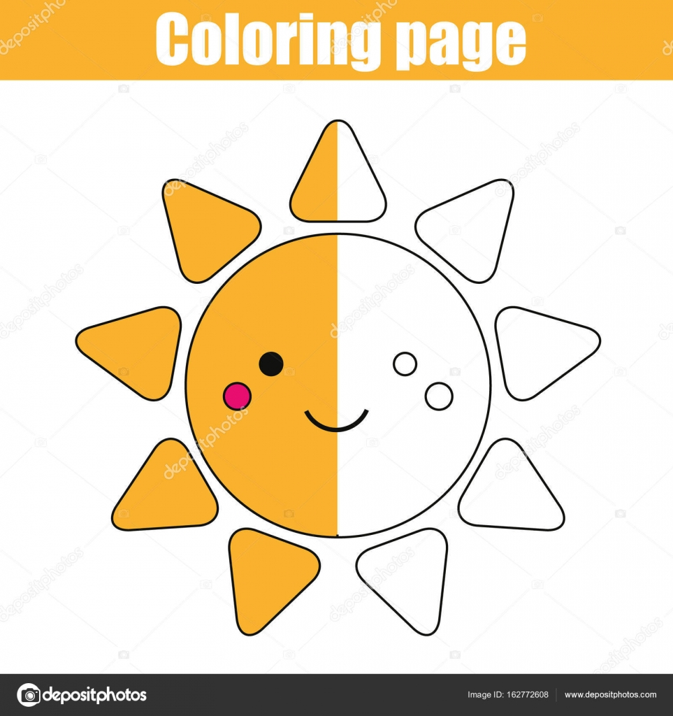 Página para colorear con carácter lindo sol. Juego didáctico, para ...