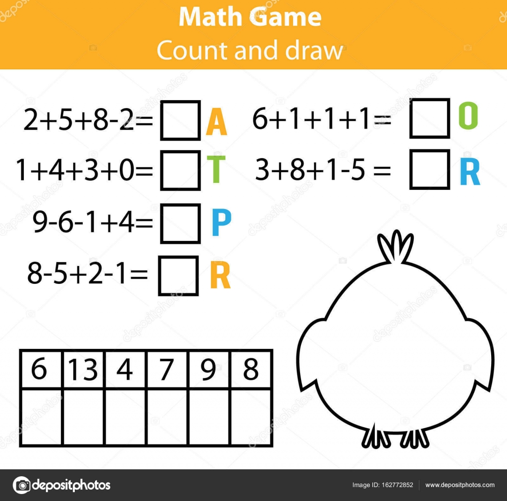 Wörter puzzle Kinder Lernspiel mit Mathematik Gleichungen. Zählen ...