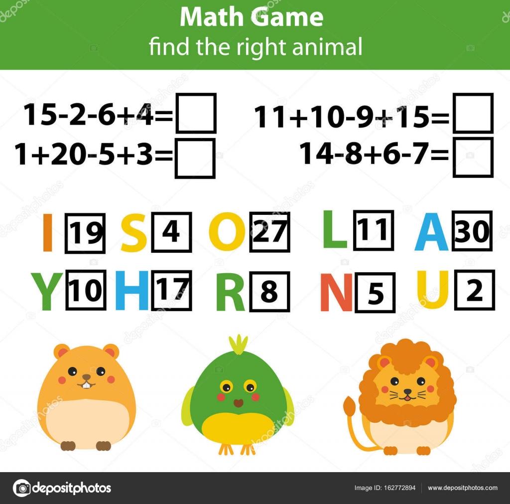 Palabras puzzles niños educativo con ecuaciones matemáticas. Cuenta ...