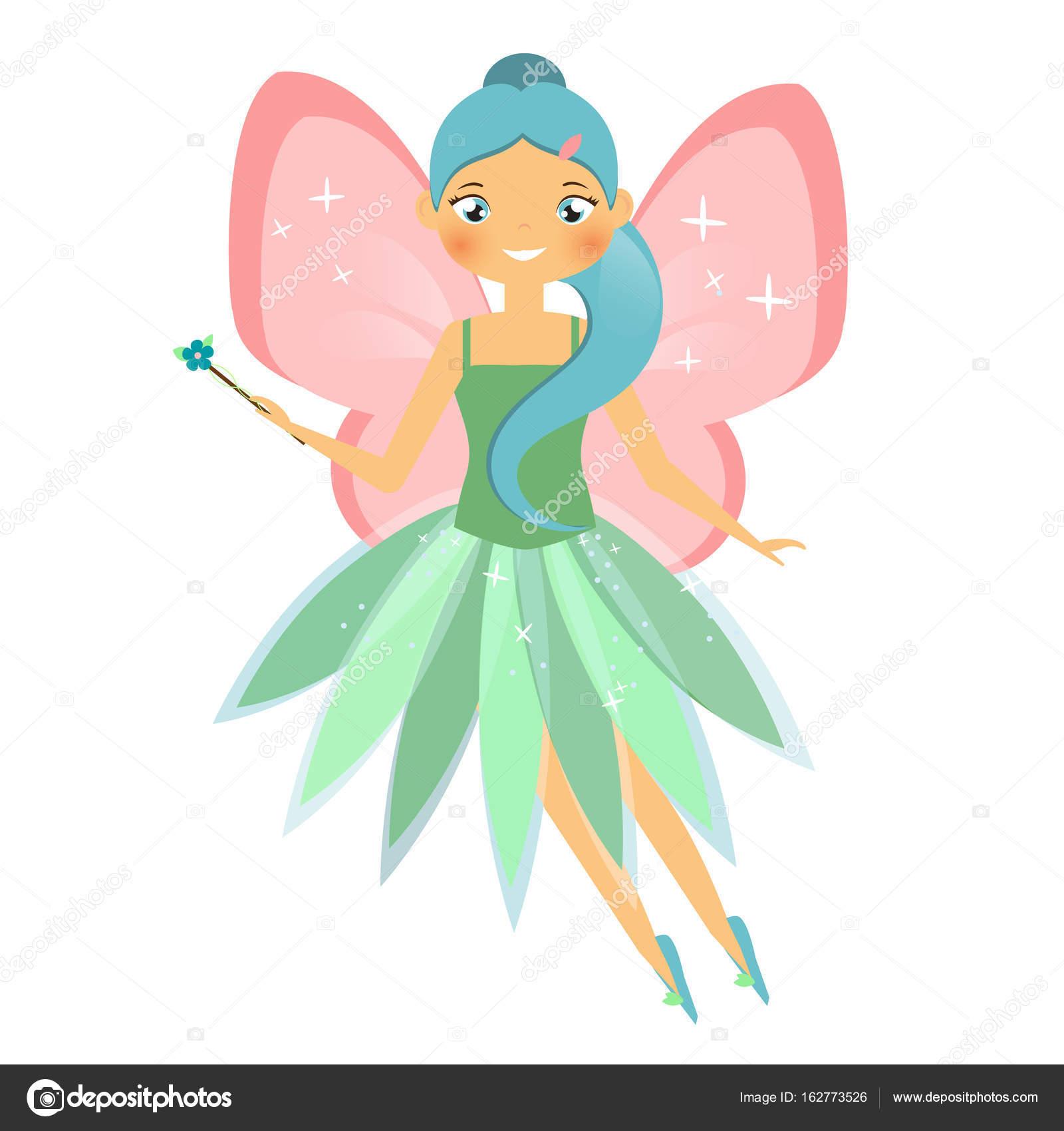 schöne fliegende fee mit rosa flügeln elfenprinzessin mit