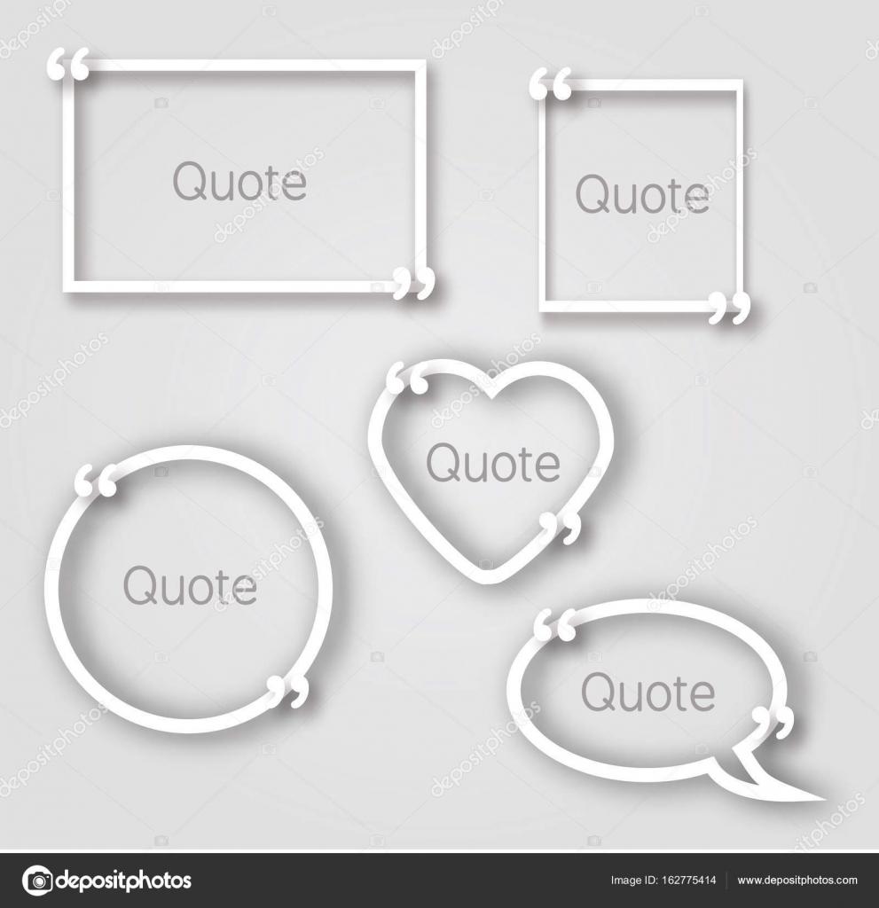 Weiße Zitat Blase Papier Frames im realistischen Stil. Verschiedene ...