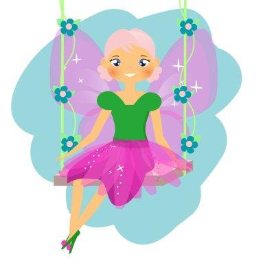 Beautiful fairy sitting on swing. Winged elf princess. Cartoon style