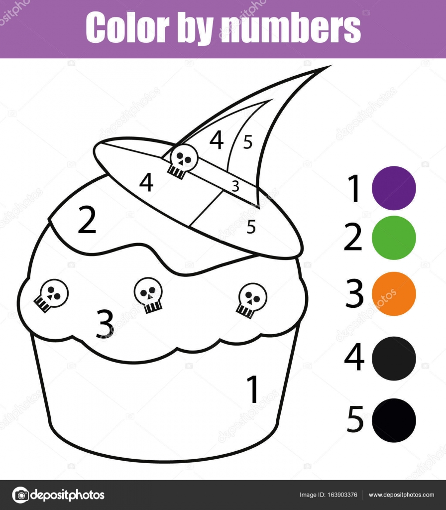 Coloring Page With Halloween Cupcake Color By Numbers Educational
