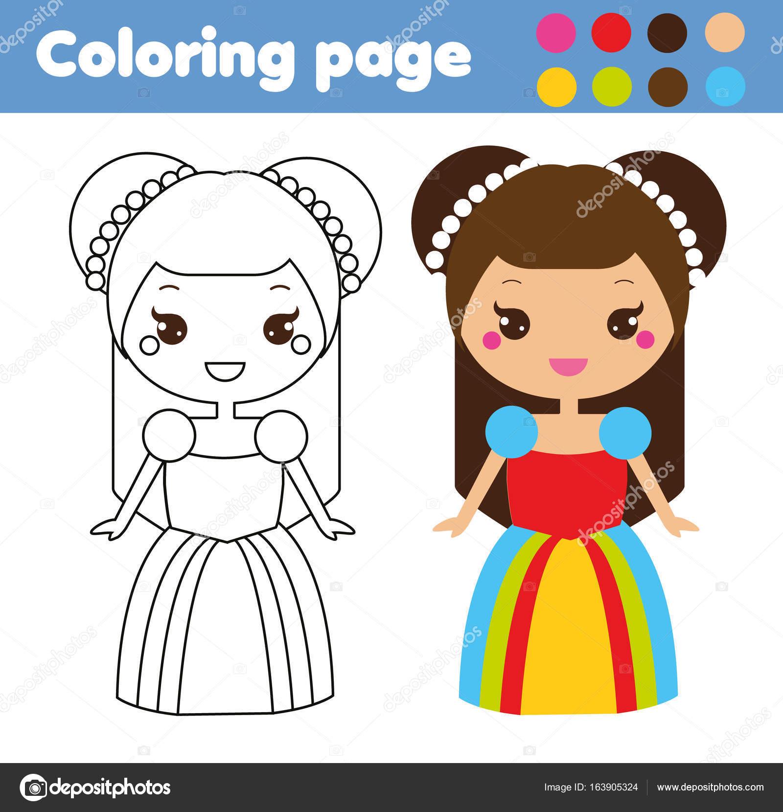 Coloriage De Princesse En Couleur.Coloriage Avec Princesse Cute Kawaii Style Couleur Image Jeu