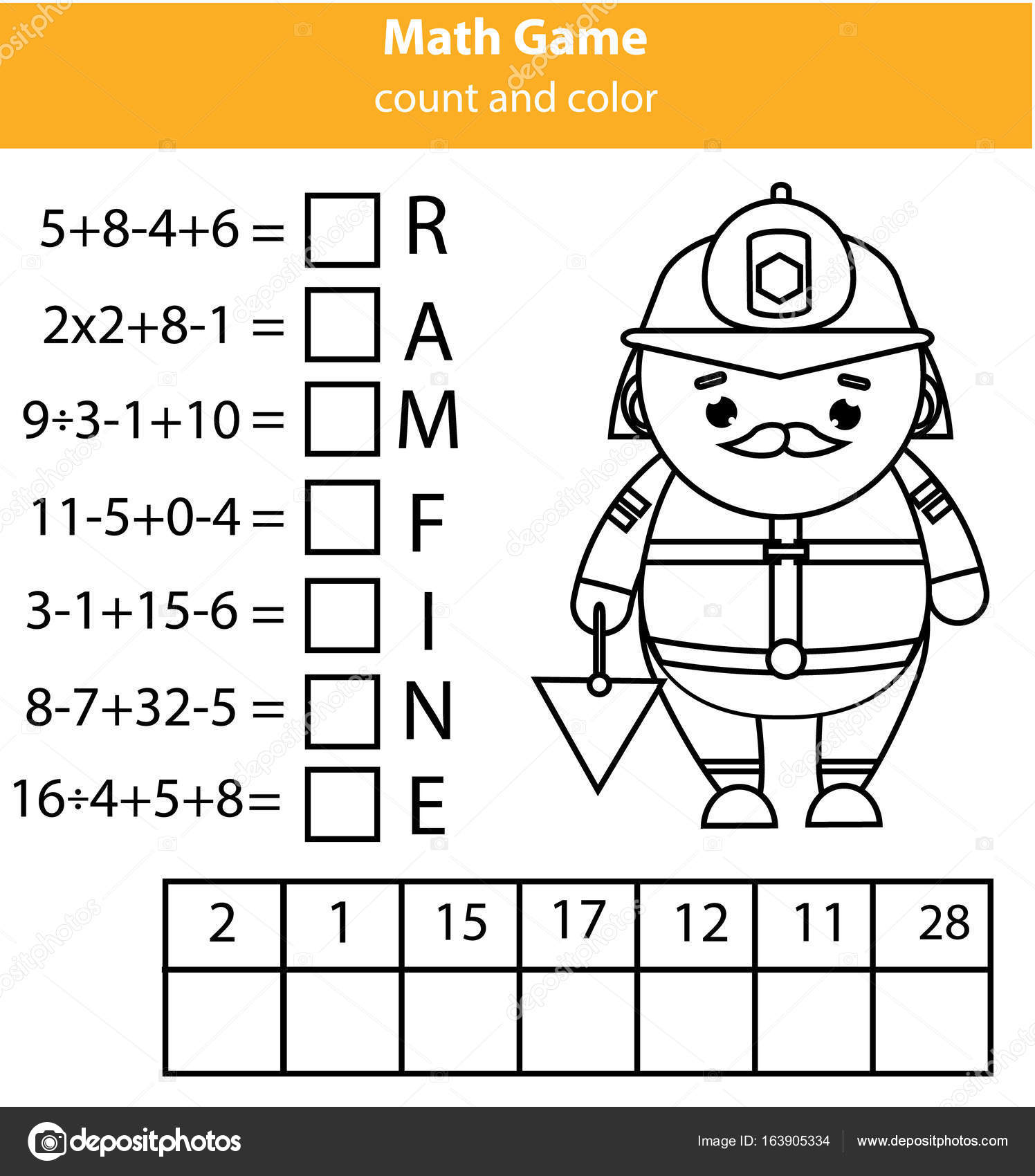 worksheet Equations Puzzle Worksheet words puzzle children educational game with mathematics equations counting and letters learning numbers vocabulary wor