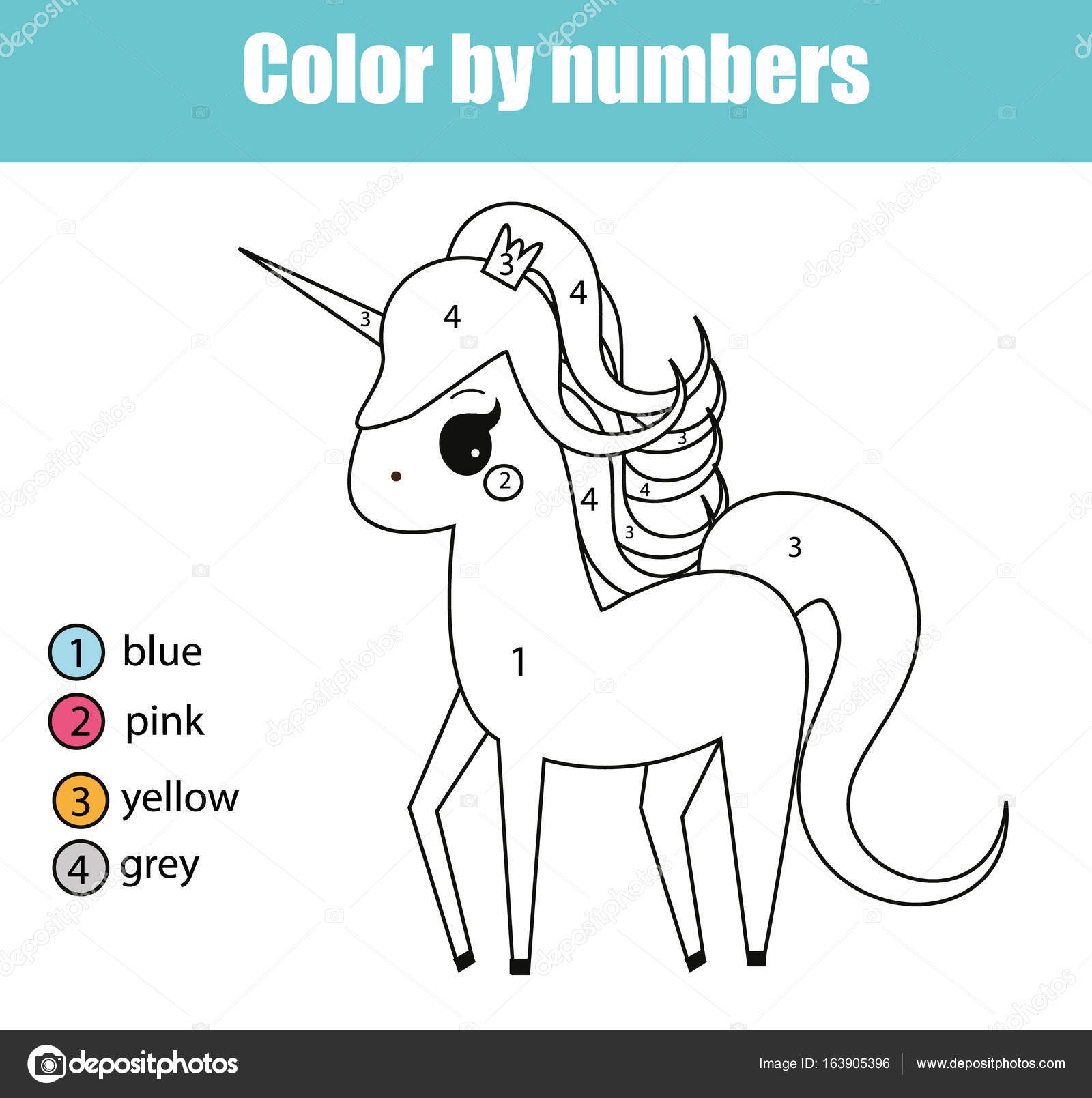 Coloring Page With Unicorn Character Color By Numbers