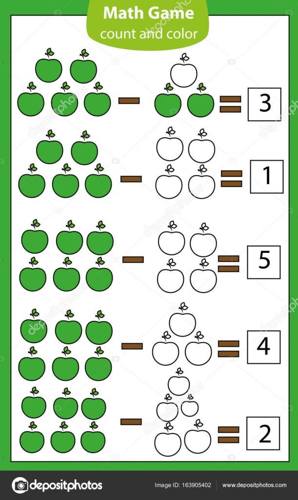 Juego educativo de matemáticas para niños. Recuento de las ...