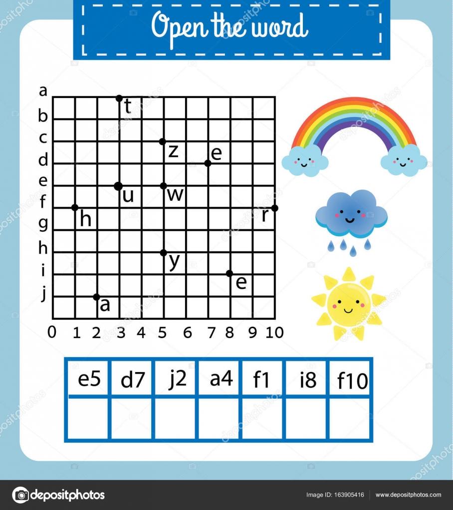 Wörter puzzle Kinder Lernspiel mit Koordinatengitter. Legen Sie die ...