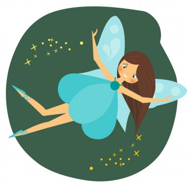 Beautiful flying fairy character with blue wings. Fantasy elf pixie princess spreading fairy dust. Winged girl in cartoon style