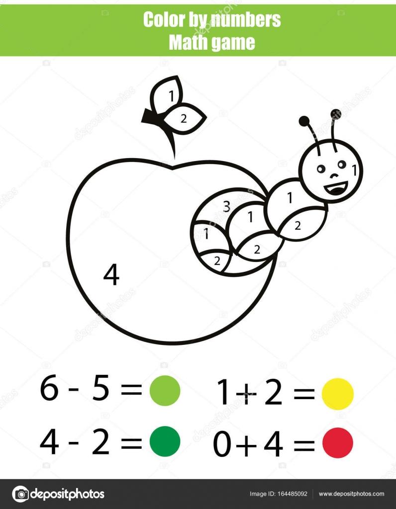 Farbe durch Zahlen. Mathematik-Spiel. Malvorlagen mit caterpillar ...