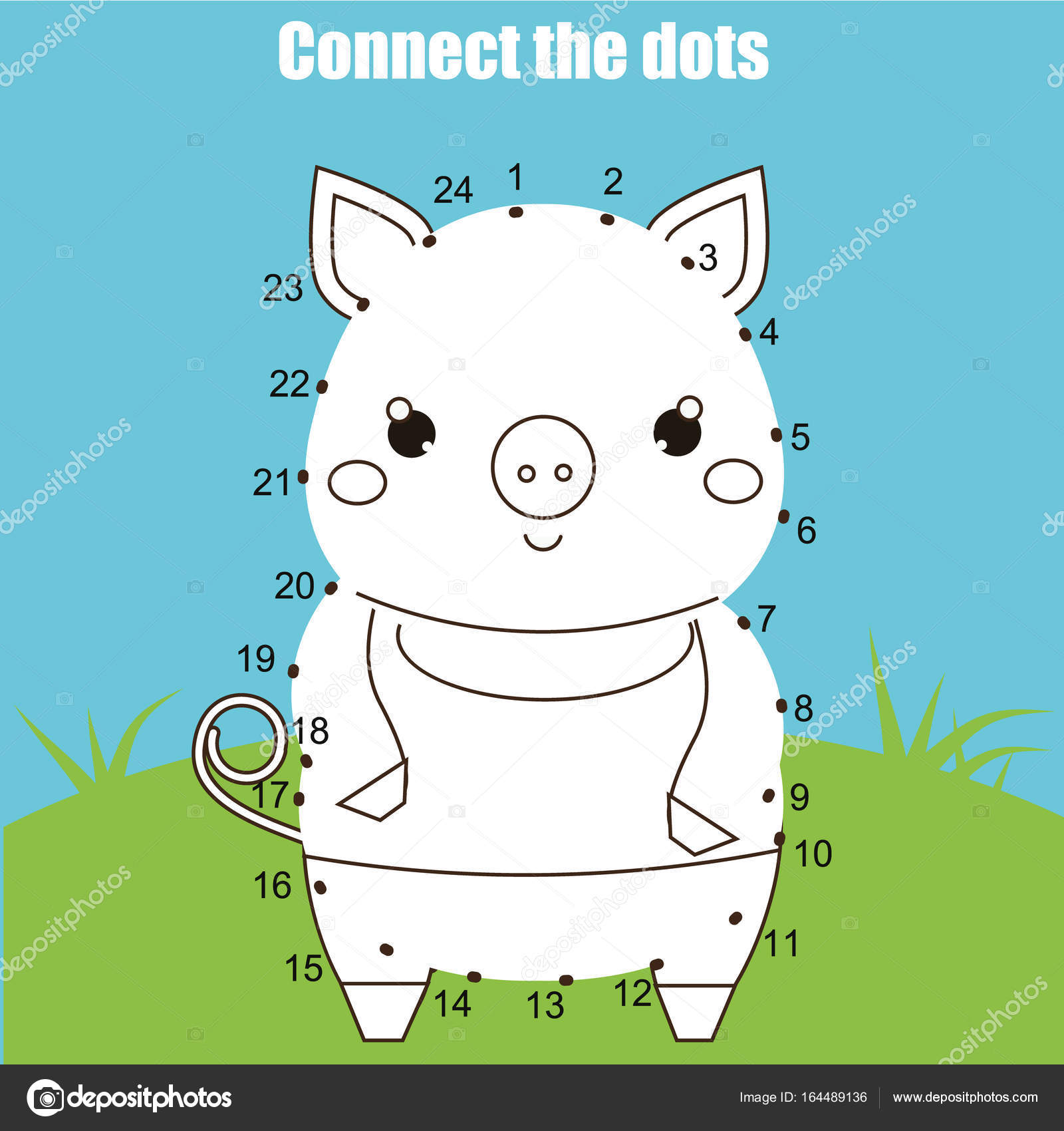 Connect the dots by numbers children educational game. Printable ...