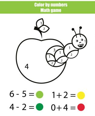 Color by numbers. Mathematics game. Coloring page with caterpillar. Learning addition and subtraction clip art vector