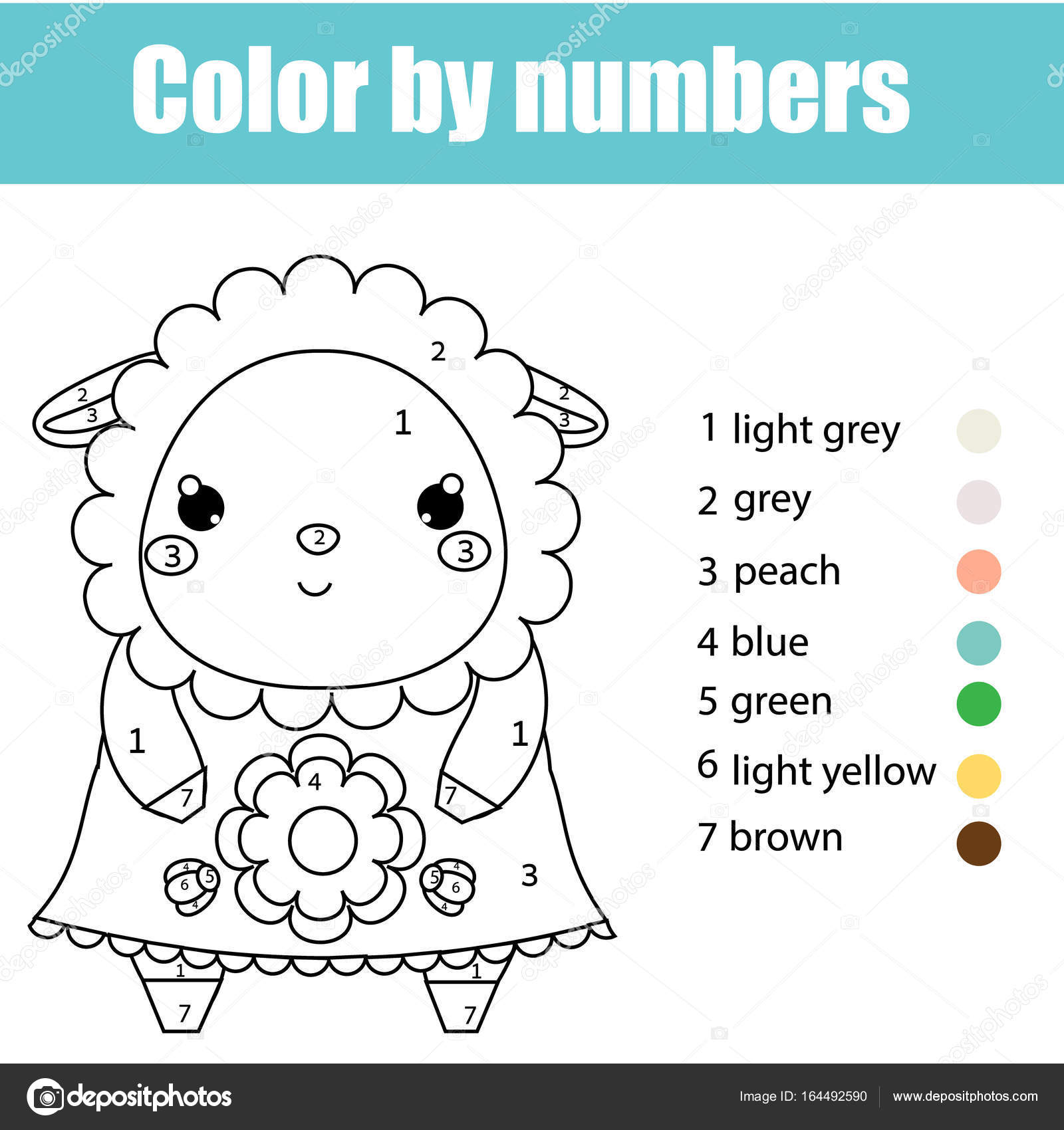 Coloring page with cute sheep character. Color by numbers ...