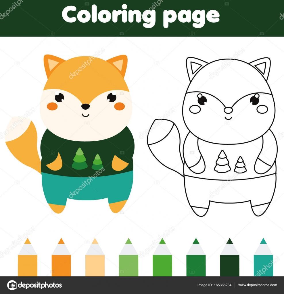 Malvorlagen mit Fox. Zeichnung Aktivitäten für Kinder. Druckbare ...