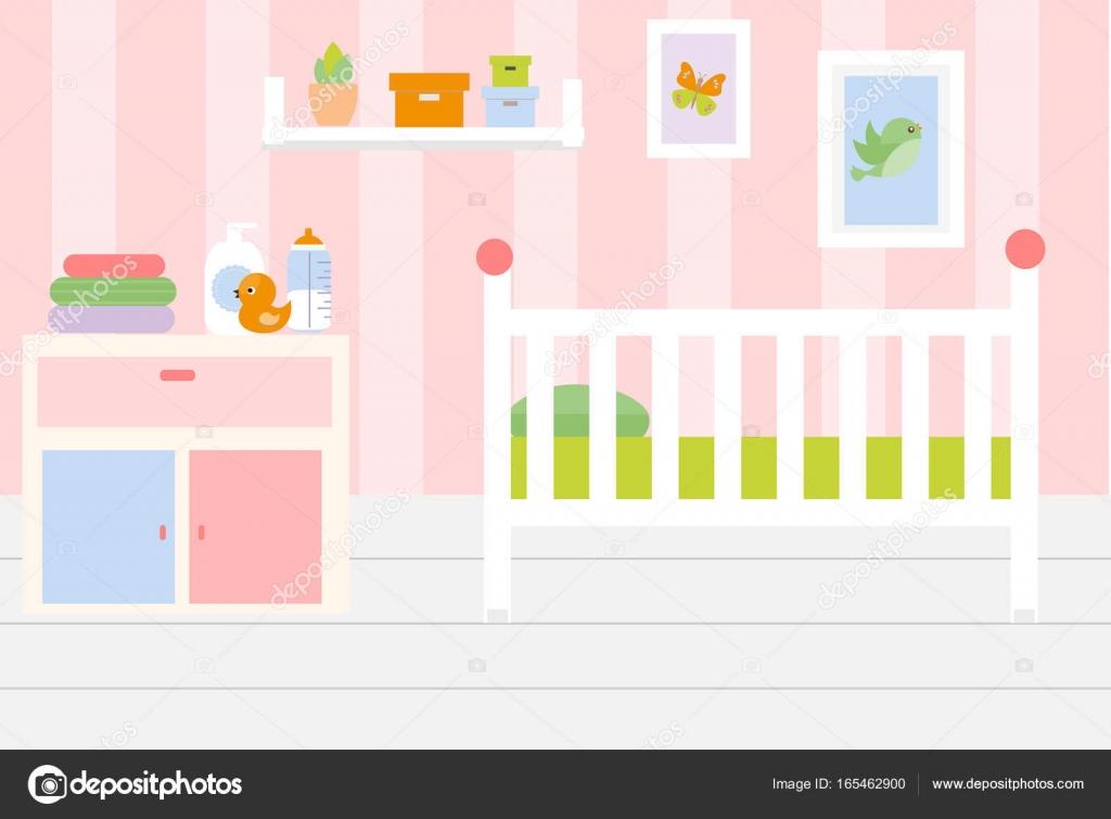 Interior de la habitación del vivero. Apartamento en colores rosados ...