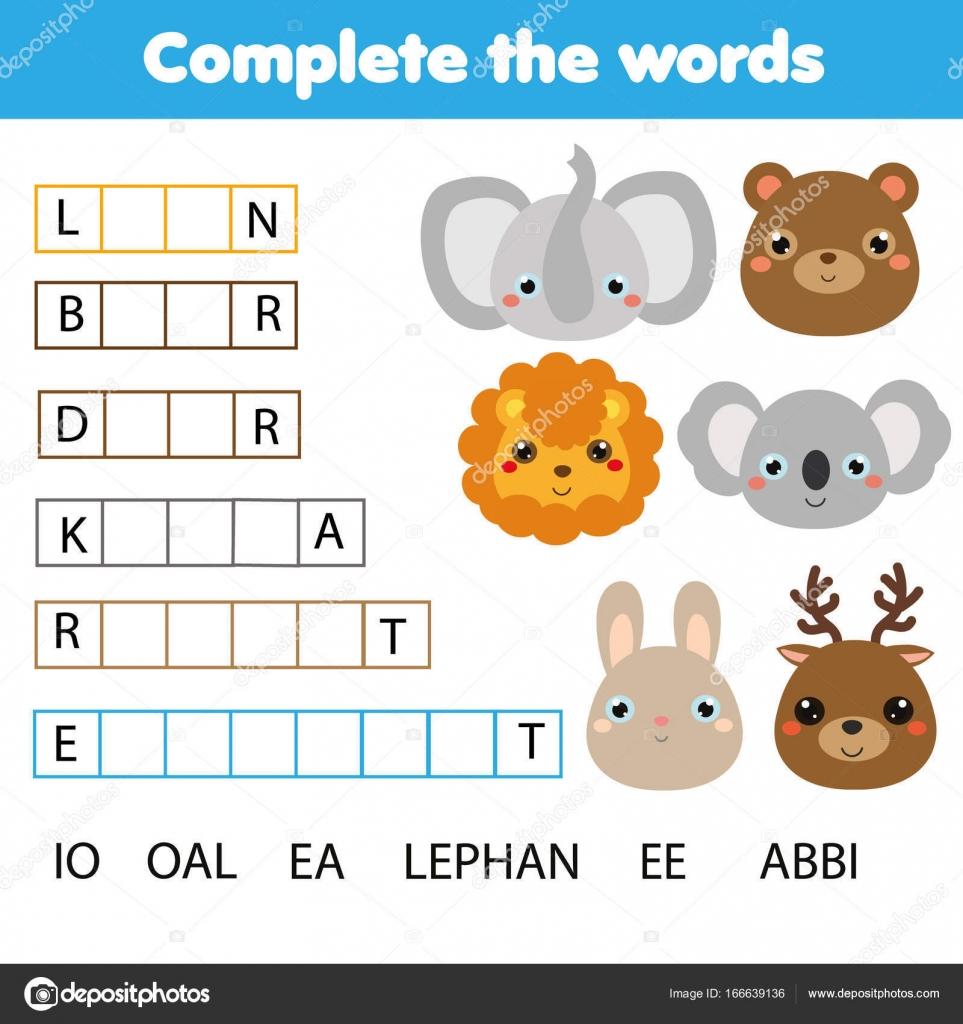 Pädagogische Kinder Spiel. Die Worte Kinder Aktivität ausführen ...