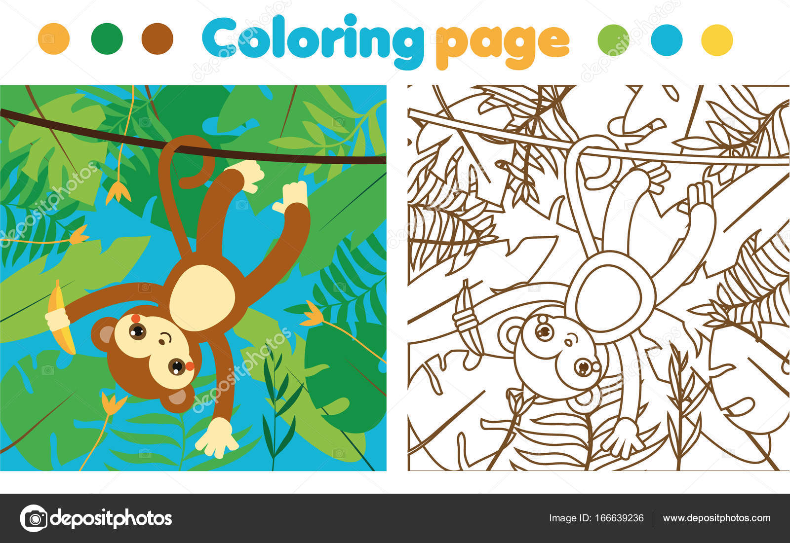 Coloring Page Children Monkey Jungle Drawing Kids Activity Printable ...