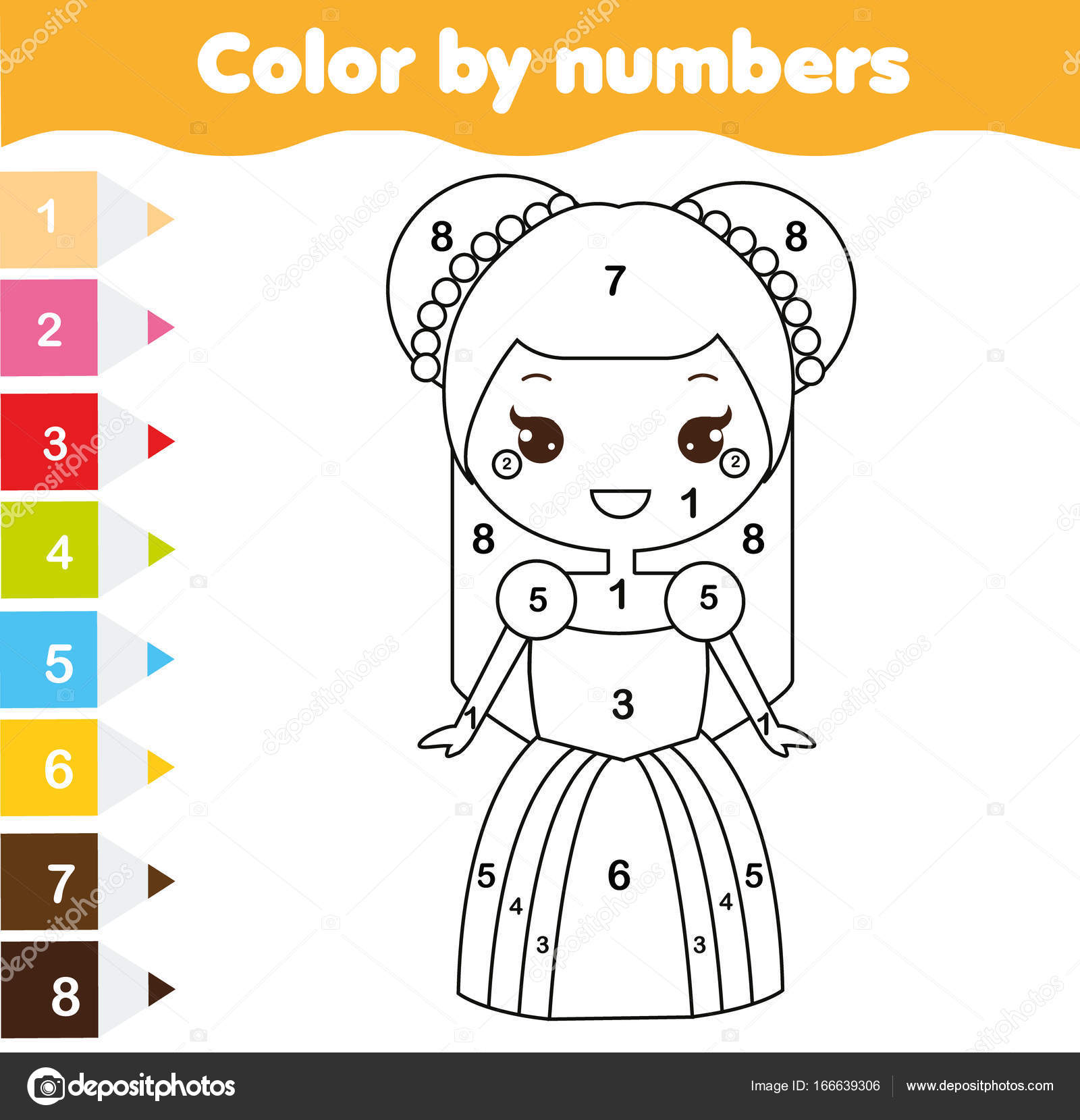 Color Numbers Educational Children Game Coloring Page Kids Cute