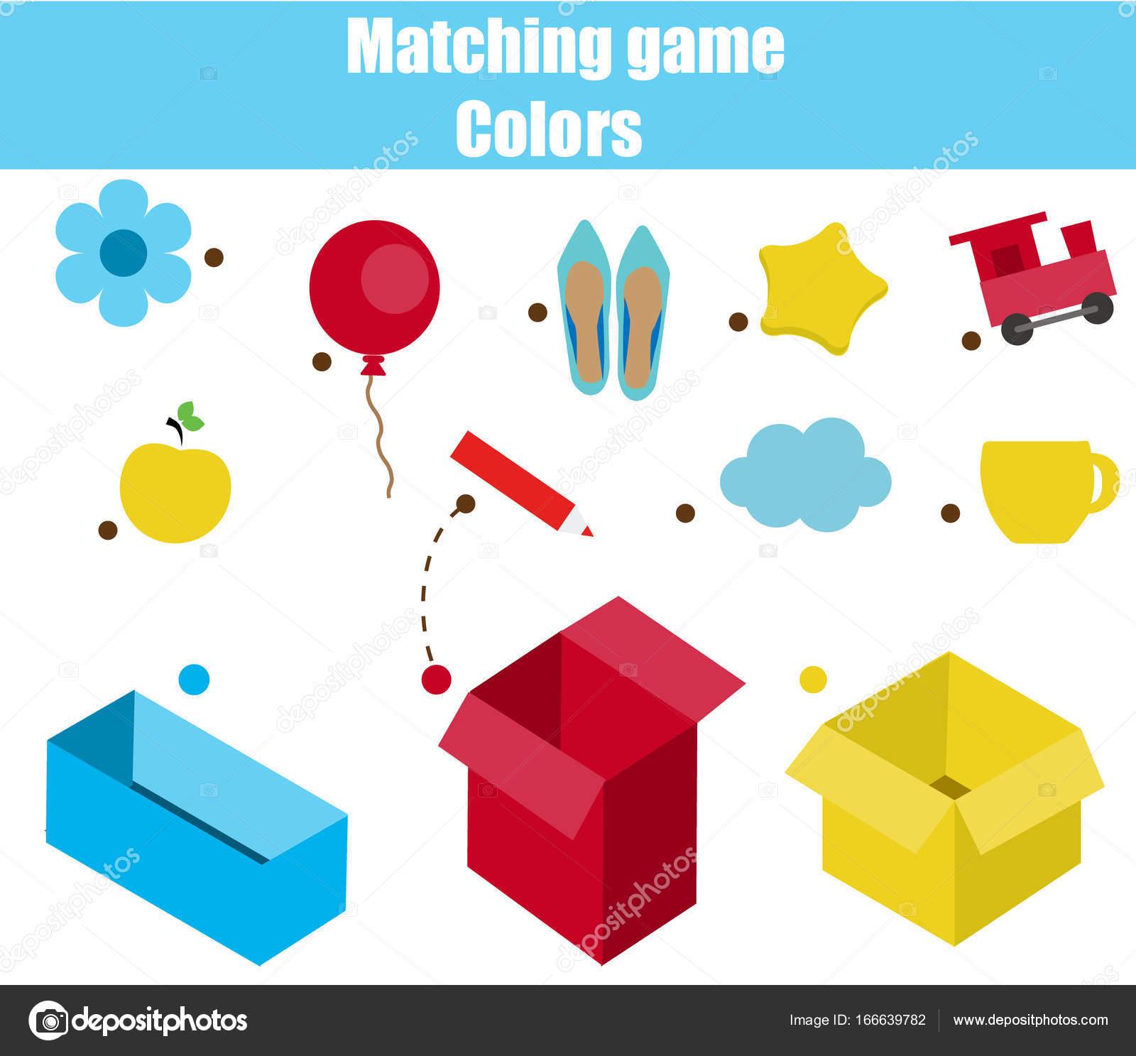Super Educatief kinderen spel. Matching game werkblad voor kinderen CL-19