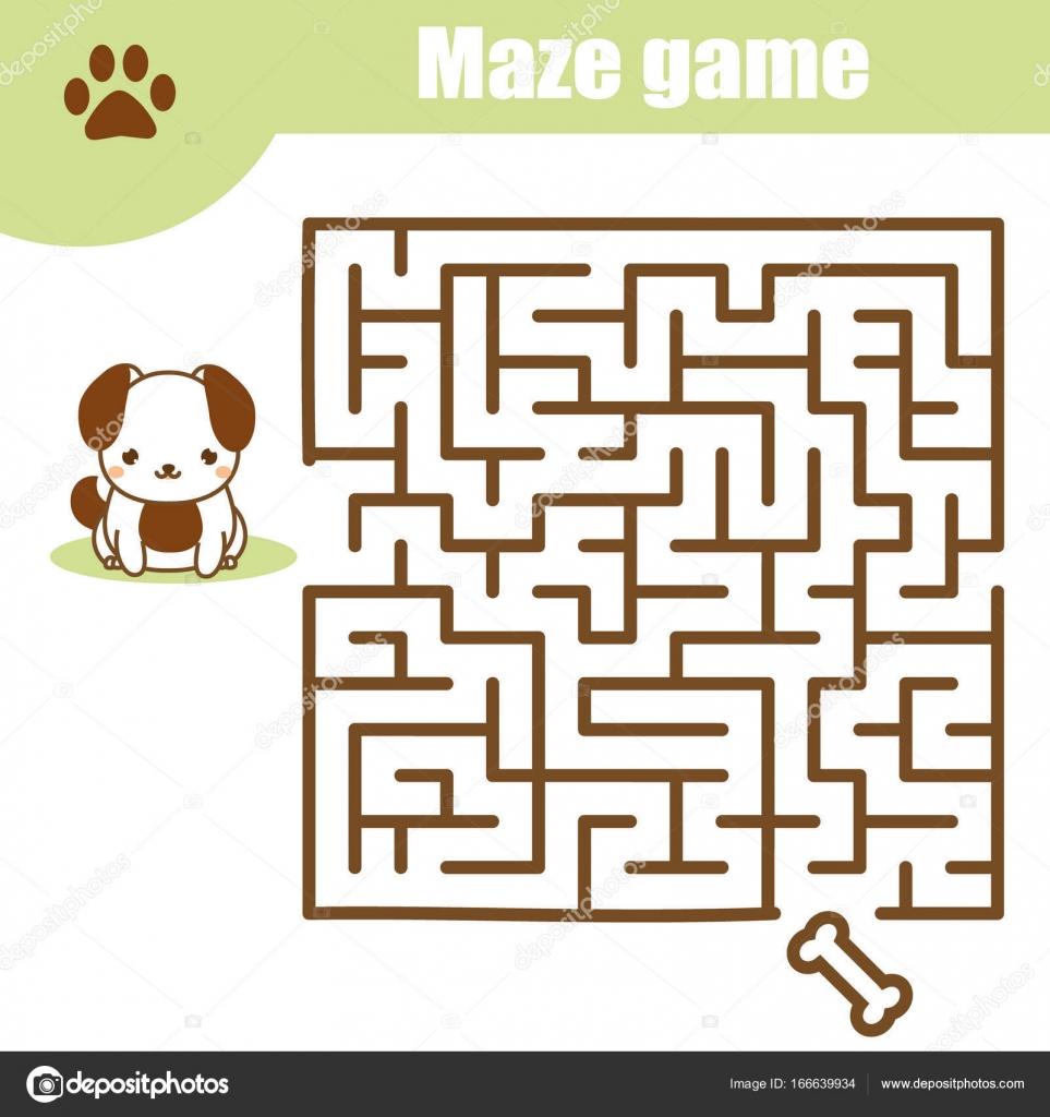 Laberinto juego: tema de animales. Hoja de actividades de los niños ...