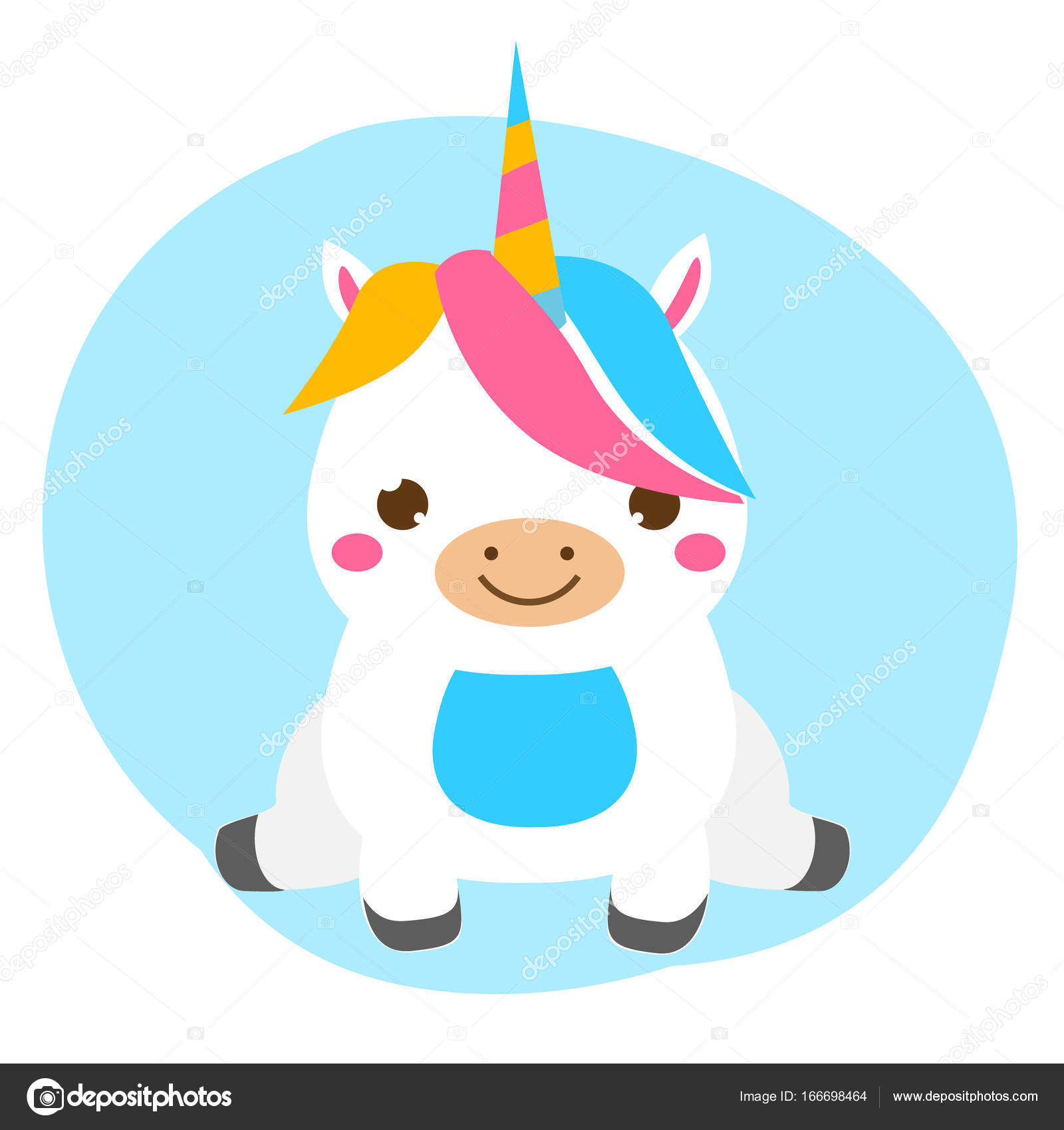 Licorne Mignon Assis Kawaii Survitaminé Personnage Animal