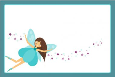 Beautiful flying fairy character with blue wings. Elf princess with magic wand. Blue frame design template for photos, children diplomas, kids certificate, invitations and etc