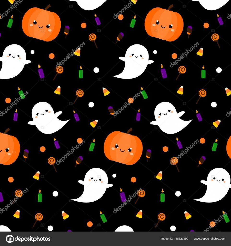 Motif D Halloween Avec Les Fantômes Mignons De Citrouille