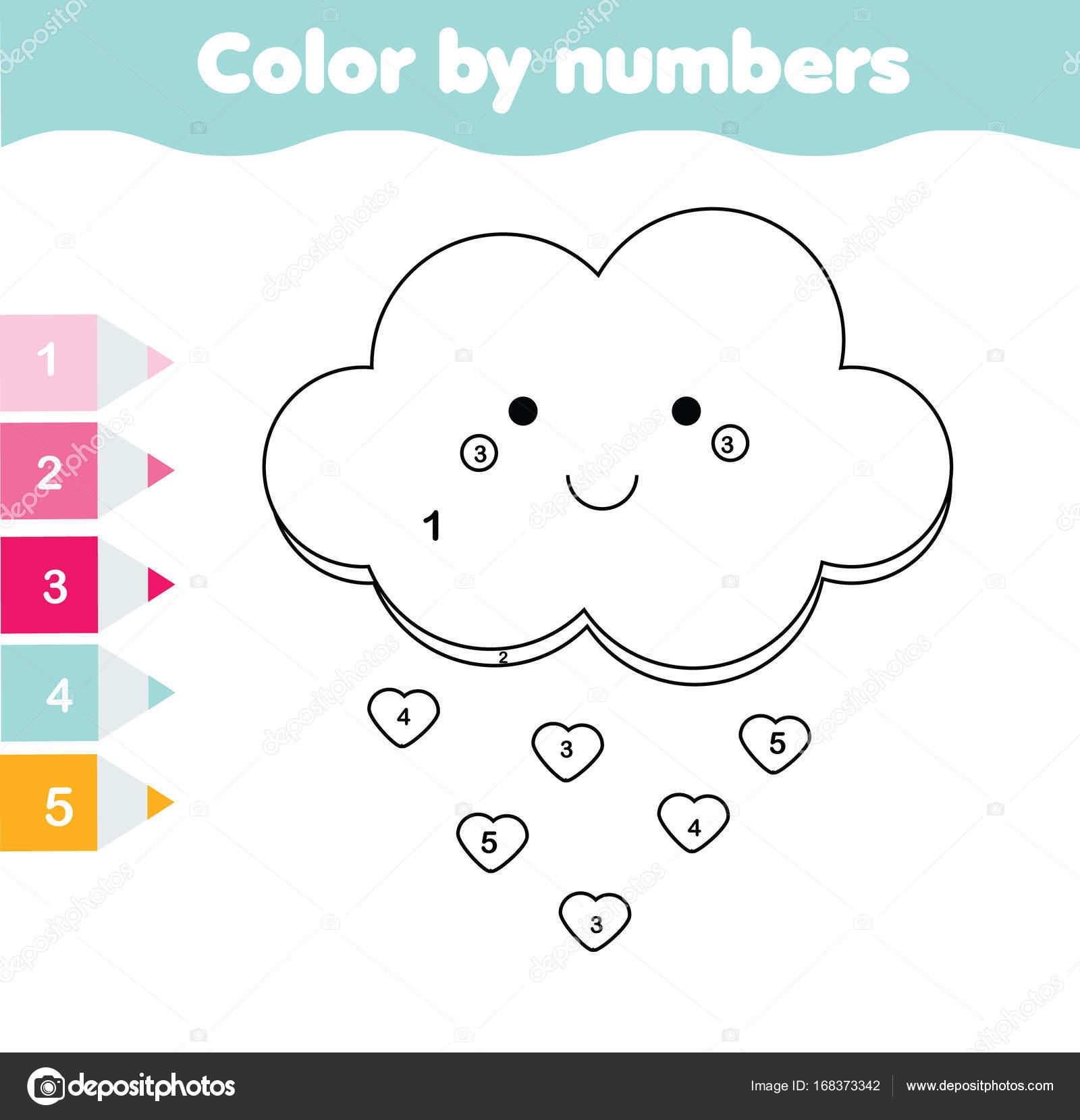 Juego educativo de los niños. Página para colorear con nube Linda ...