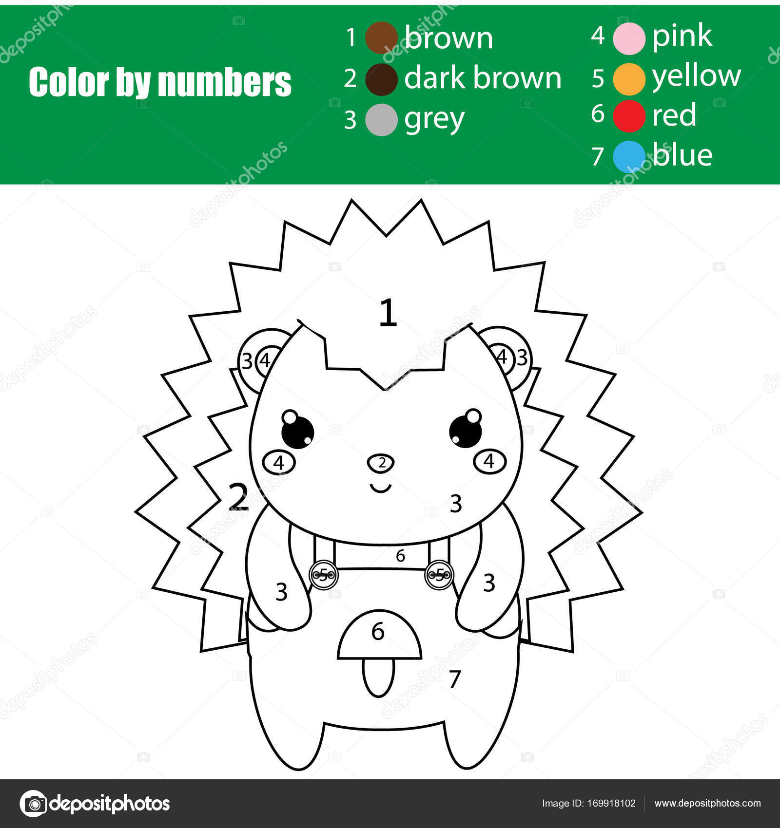 coloring page with cute hedgehog color by numbers printable activity - Number 50 Coloring Page