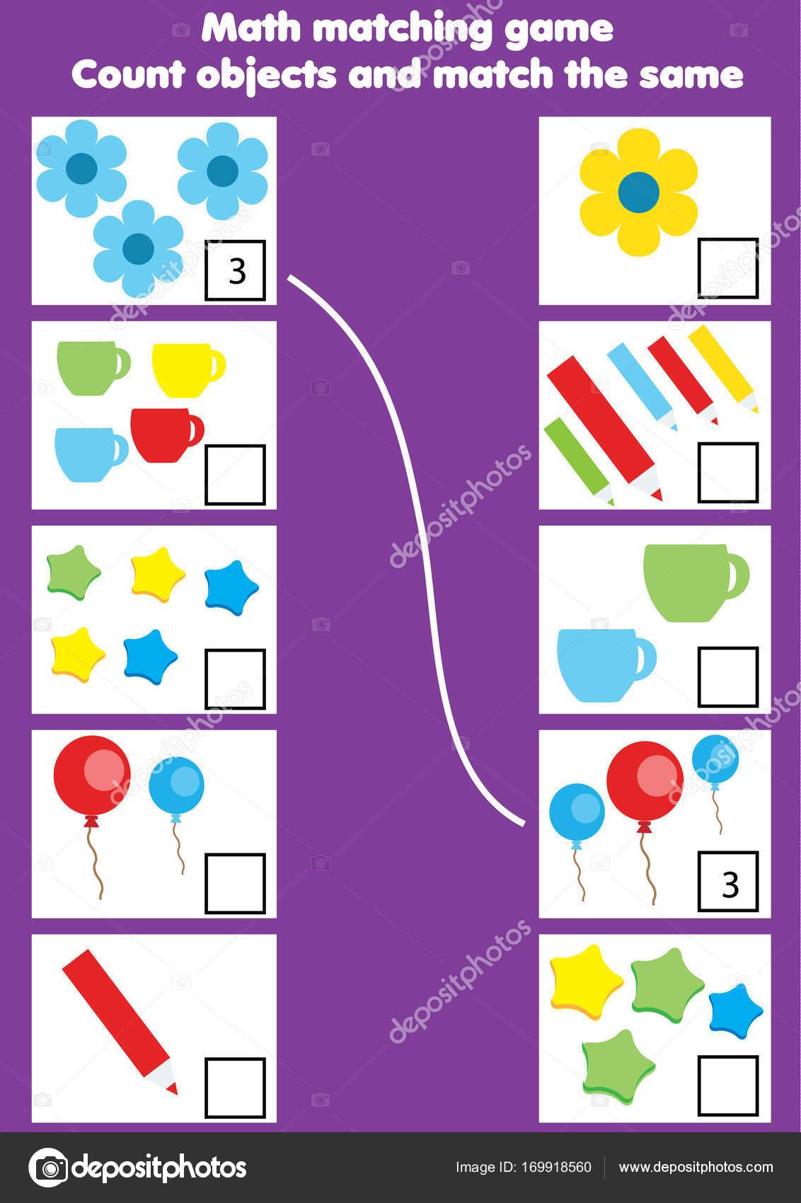 Math Educational Game Children Matching Mathematics Activity ...