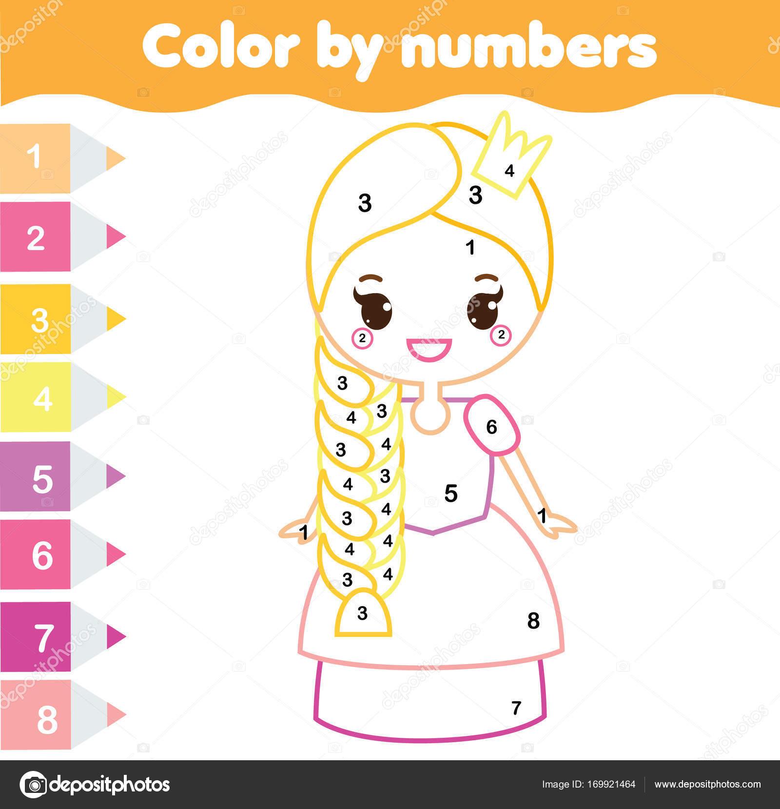 Lernspiel Für Kinder Malvorlagen Mit Niedlichen Prinzessin Farbe ...