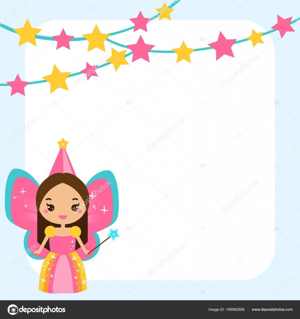 Beautiful little fairy character magic wand. Blue frame design ...