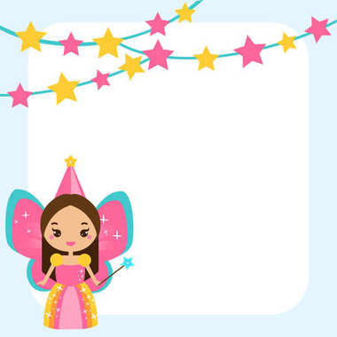 Beautiful little fairy character magic wand. Blue frame design template for photos, children diplomas, kids certificate, invitations and etc
