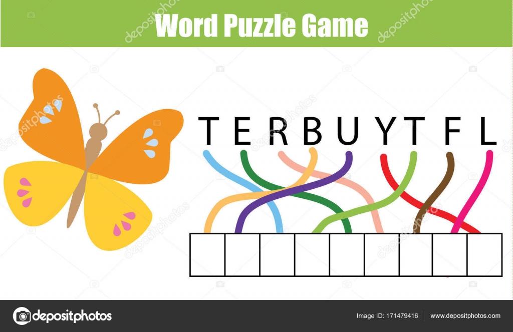 Wörter puzzle Lernspiel für Kinder. Legen Sie die Buchstaben in der ...