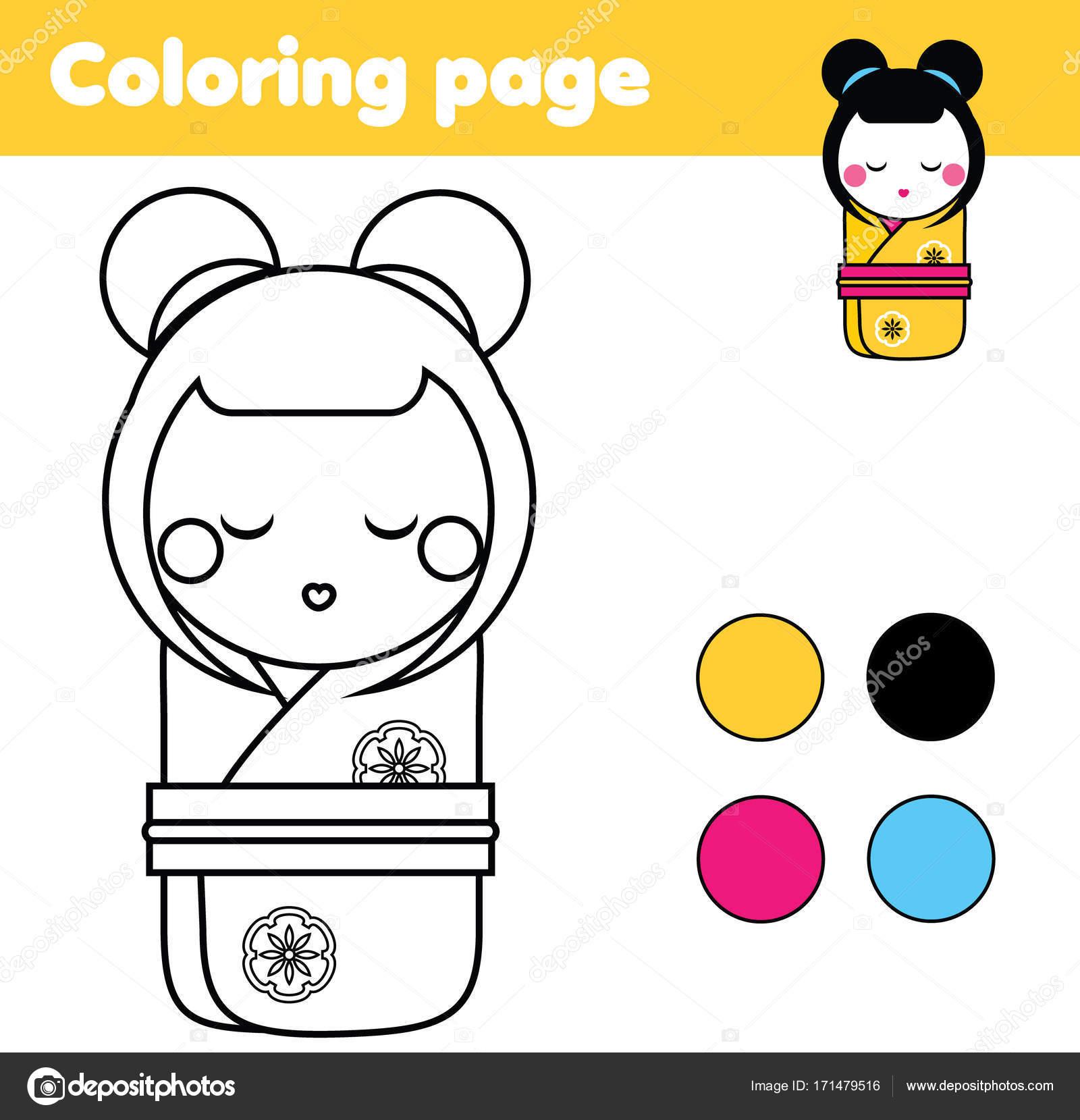 Malvorlagen mit japanischen Kokeshi Puppe. Zeichnung-Kinder-Spiel ...