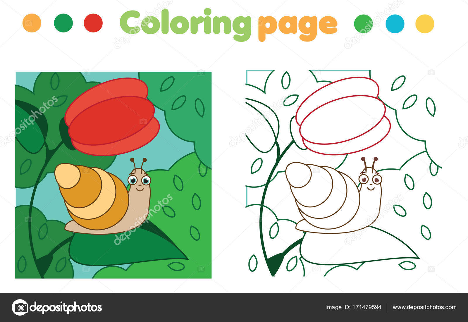 Coloring Page Snail Flower Color Picture Educational Children Game
