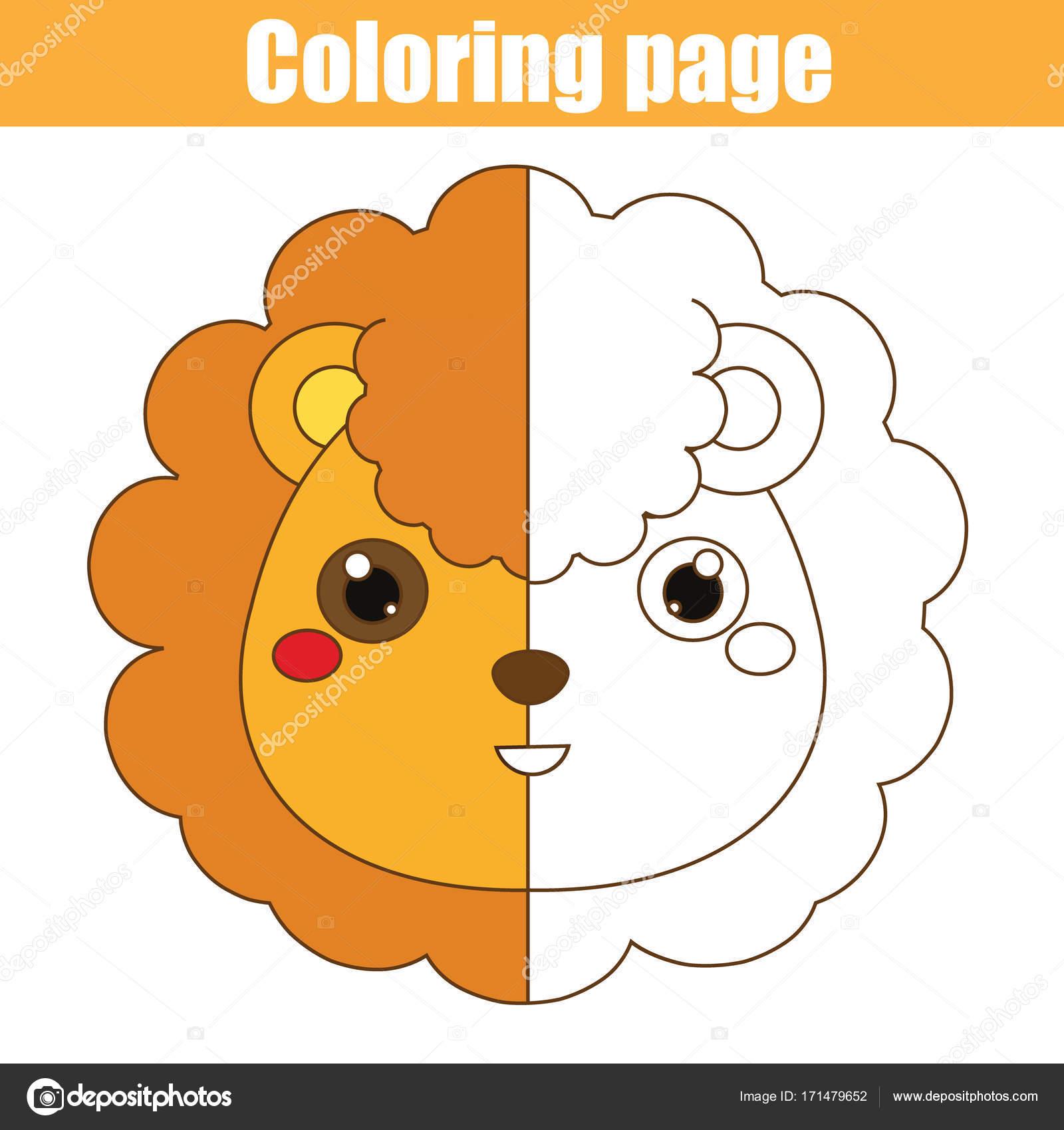 Página para colorear con León. Dibujo juego de niños. Actividad para ...