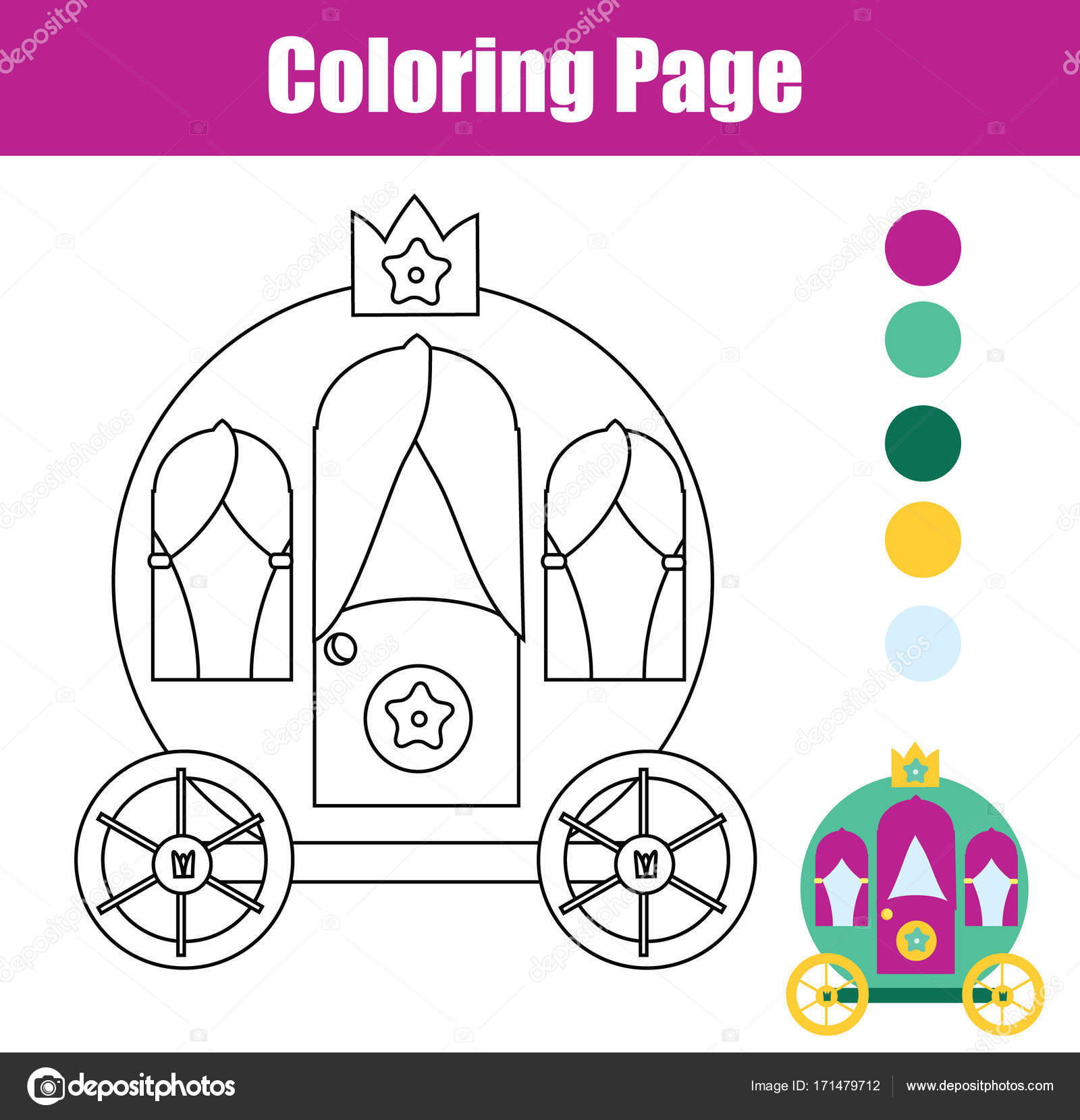 Coloring Page With Princess Carriage Drawing Kids Game Printable