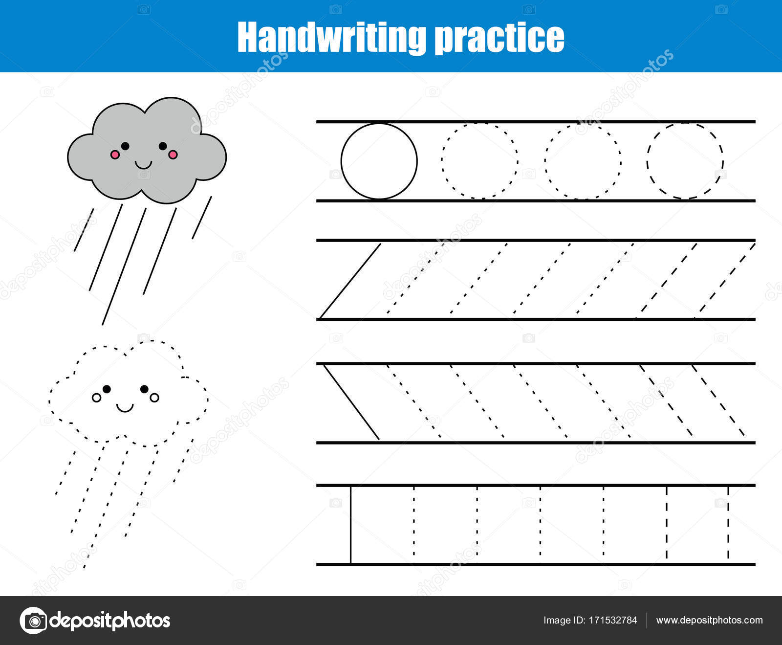 Handwriting Practice Sheet. Educational Children Game, Printable Worksheet  For Kids. Writing Training Printable Worksheet With Lines And Cartoon Rainy  Cloud ...
