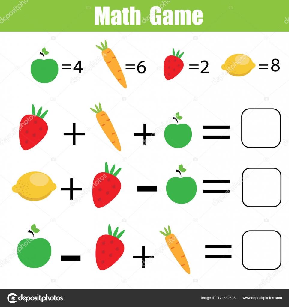 Mathe Lernspiel für Kinder. Mathematische Gleichungen zu zählen ...