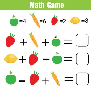Mathematics educational game for children. Mathematical counting equations worksheet for kids clip art vector