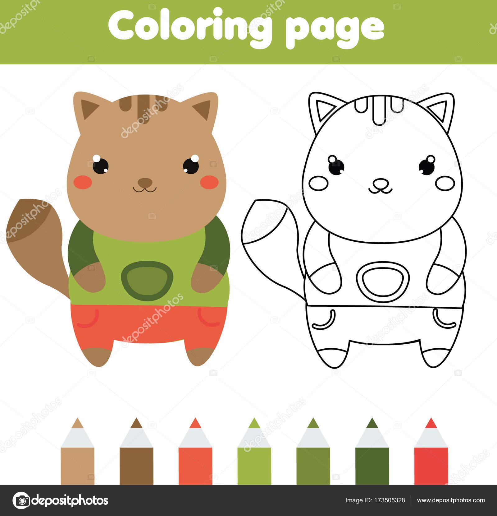 Página para colorear con gato. Dibujo juego de niños. Actividad para ...