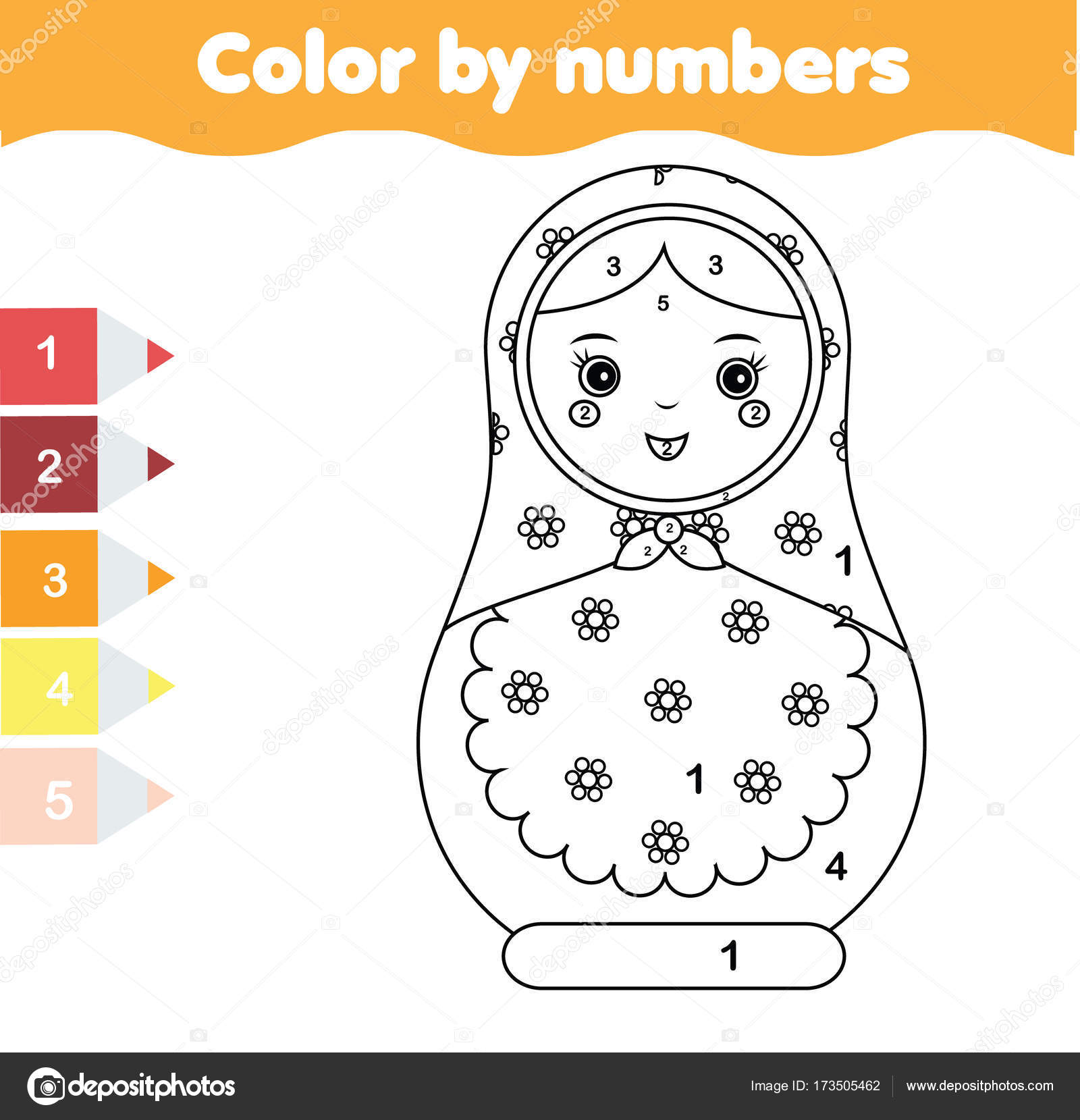 Children Educational Game Coloring Page With Matreshka Doll Color