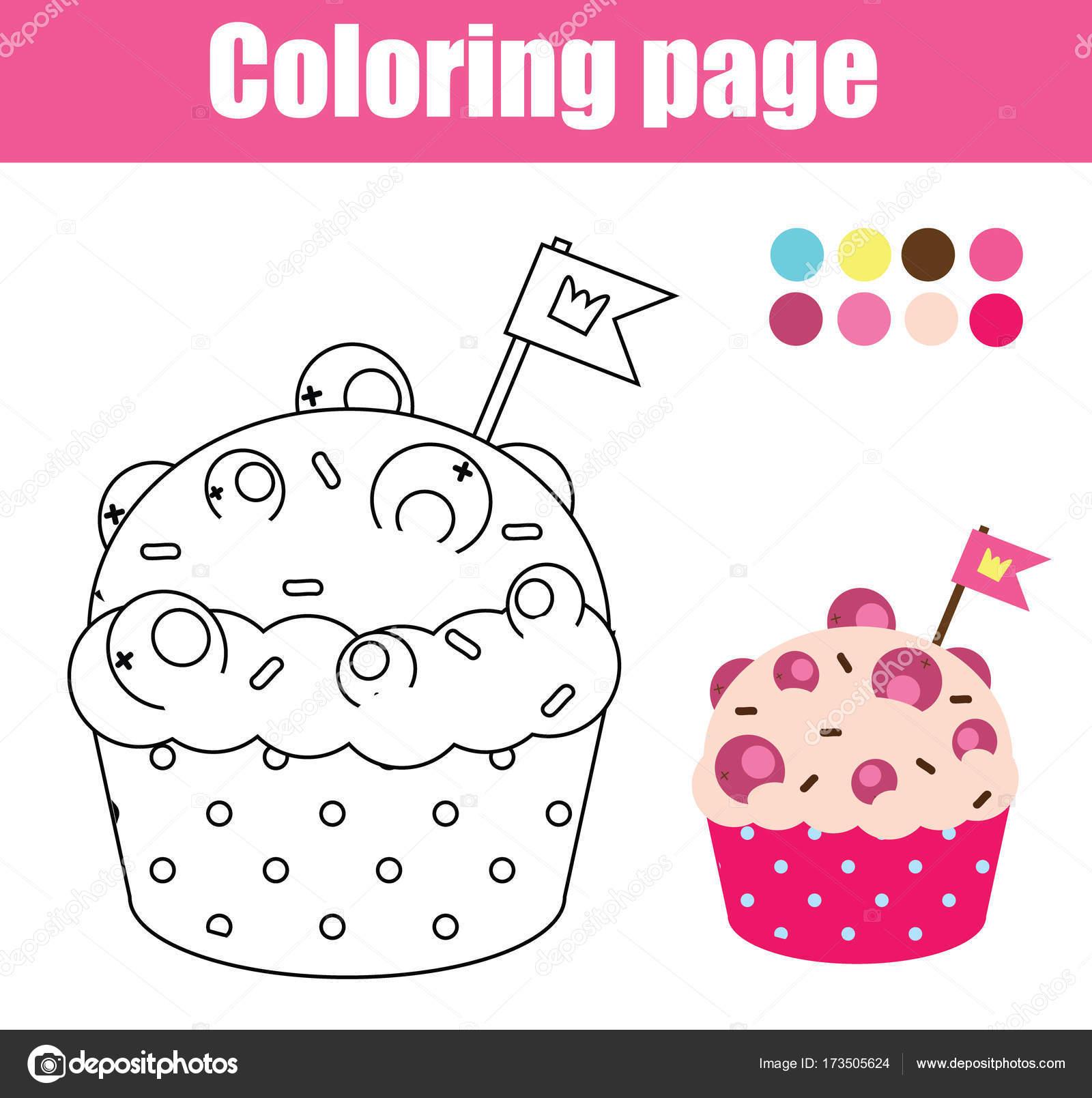 Malvorlagen mit Cupcake. Zeichnung-Kinder-Spiel. Druckbare Aktivität ...