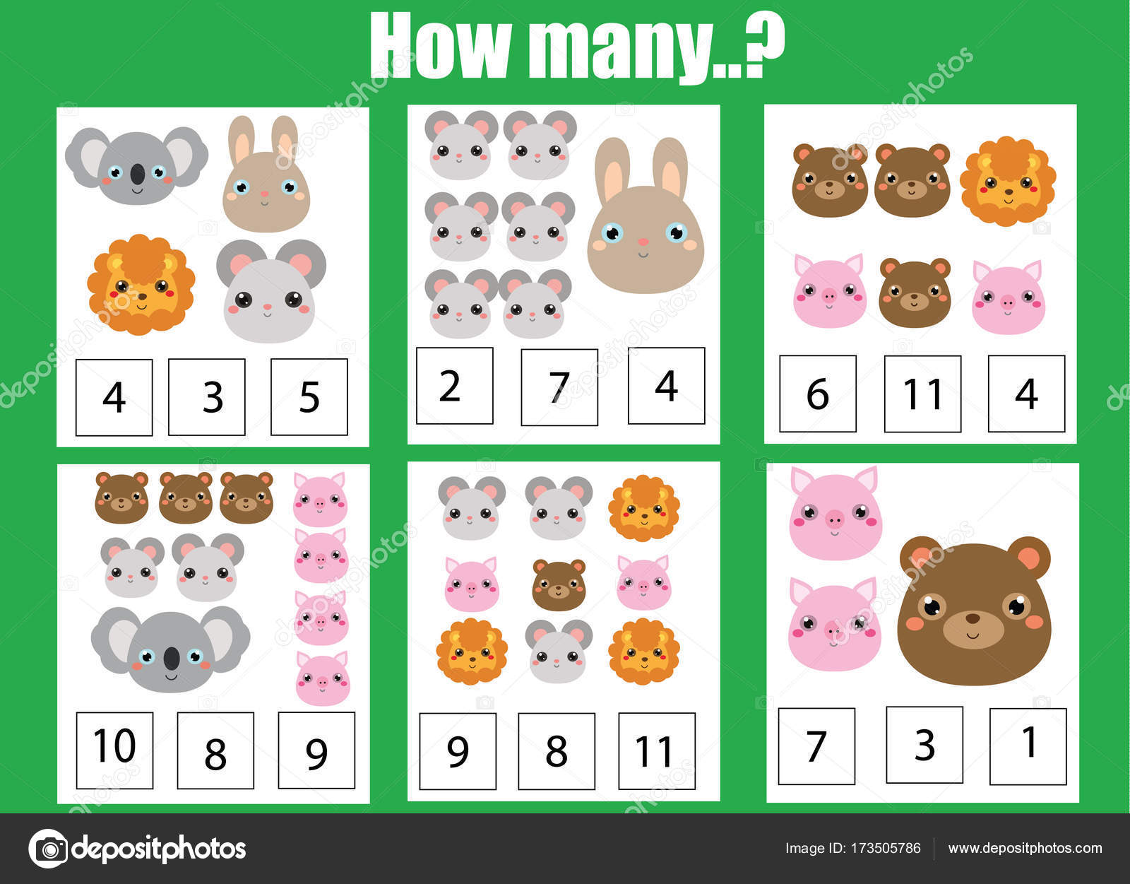 Counting educational children game, math kids activity. How many ...