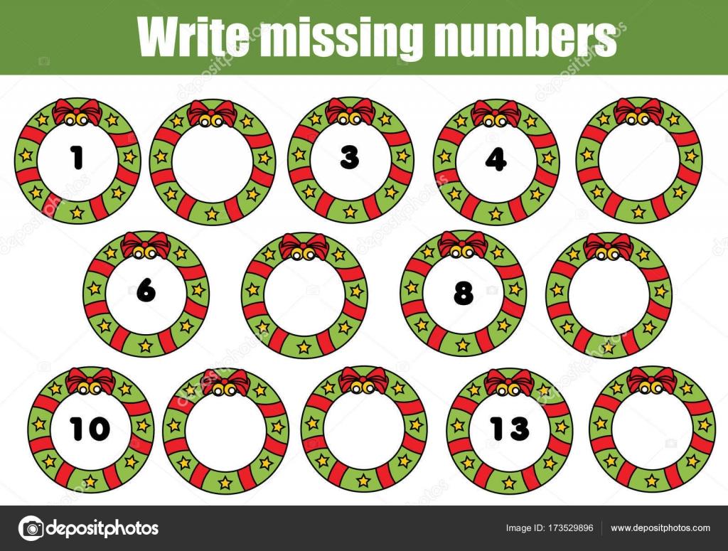Mathematik-Lernspiel für Kinder. Schreiben Sie die fehlenden Zahlen ...