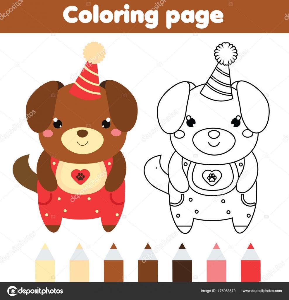 Página para colorear de perro lindo. Dibujo juego de niños ...