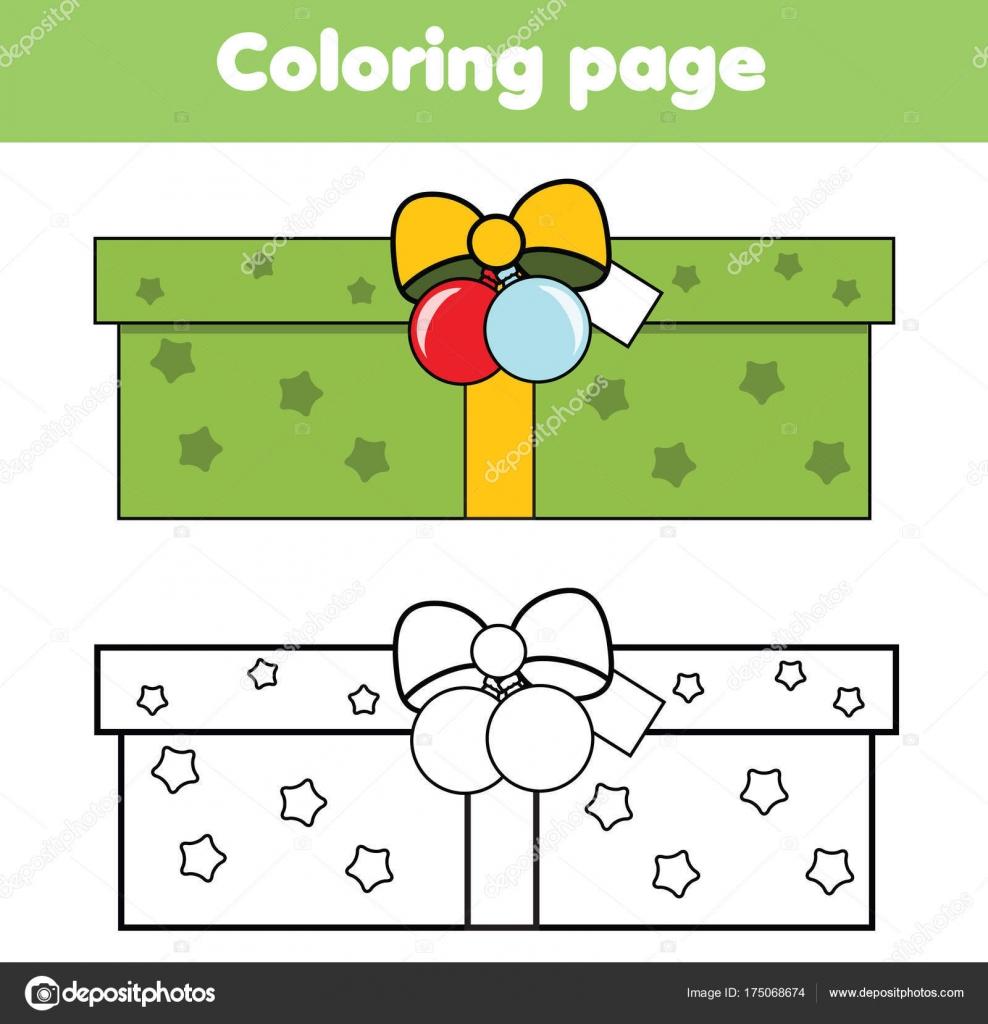 Página para colorear con caja de regalo de año nuevo. Dibujo juego ...