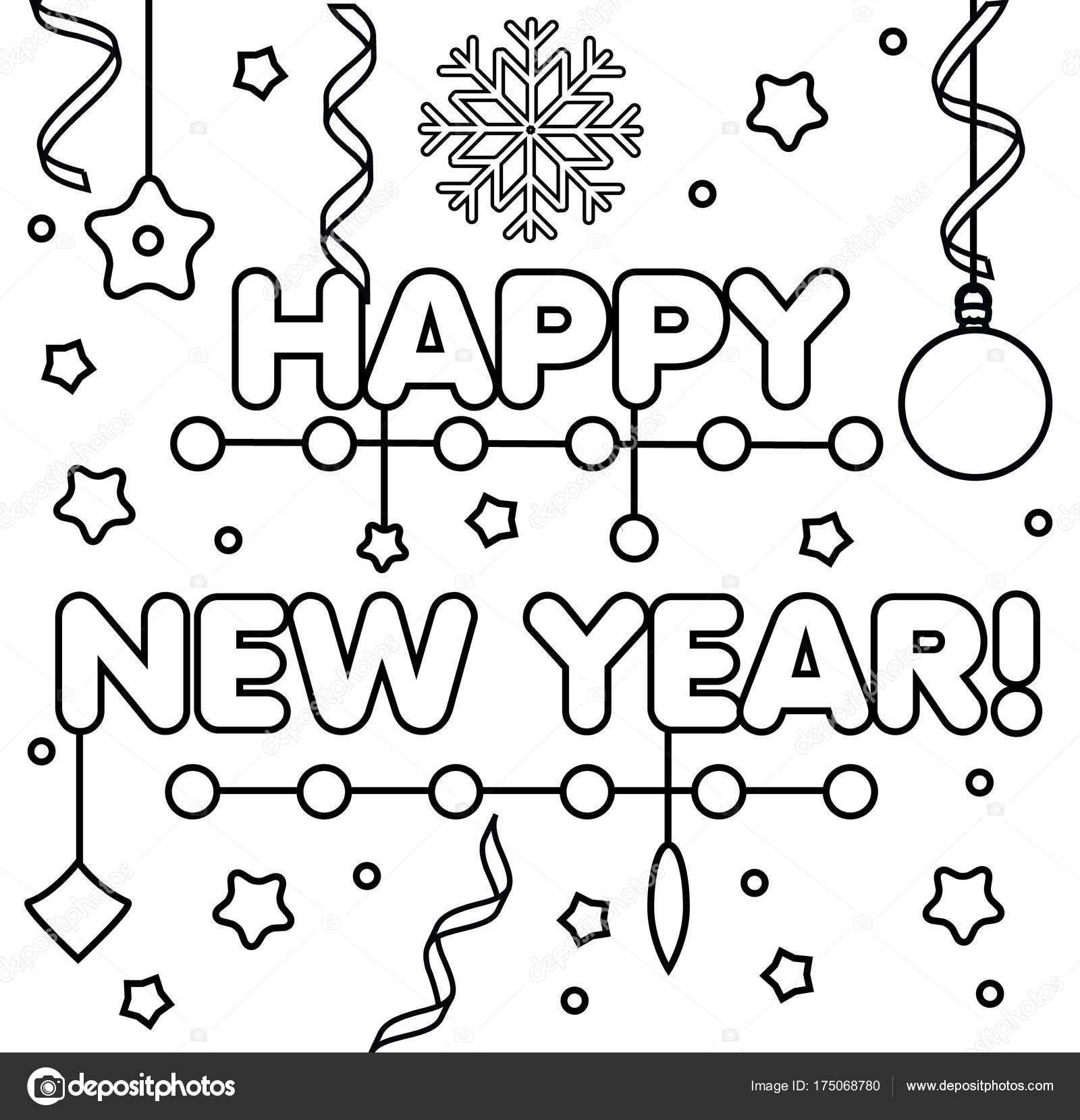 coloring page with happy new year text drawing